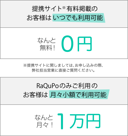 提携サイト一定額以上の有料掲載のお客様はいつでも利用可能 なんと無料!0円 RaQuPoのみご利用のお客様は月々少額で利用可能 なんと月々!2万円